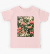 Pink Poppy in late everning light Kids Tee
