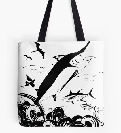Black N White Marlin Scene Tote Bag