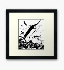 Black N White Marlin Scene Framed Print