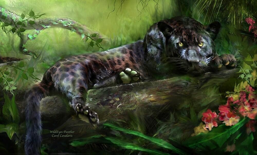 Wild Eyes - Panther by Carol  Cavalaris