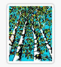 Birch Trees painting Sticker