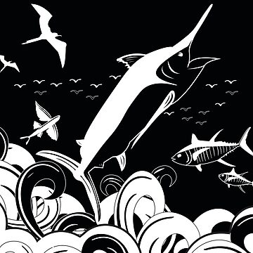 Marlin Scene Black N White (Black Version) by blackmarlinblog