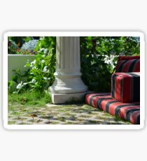 Park arrangement with classical column and comfortable seating pillows. Sticker