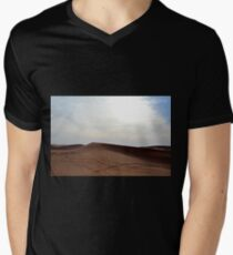 Sand dunes in the desert and cloudy sky. Mens V-Neck T-Shirt