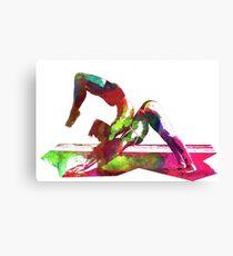 Couple yoga watercolour art Canvas Print