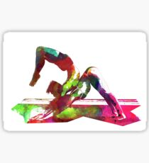 Couple yoga watercolour art Sticker