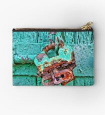 Old Lock on wooden gate Studio Pouch