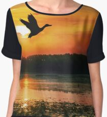 Sunset on the Mississippi River Flyway Chiffon Top