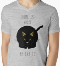 Home is where my cat is Men's V-Neck T-Shirt