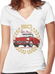 Alfa Romeo Spider 50 years Women's Fitted V-Neck T-Shirt