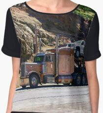 Truckers Big Rig Auto-Transporter Truck  Chiffon Top