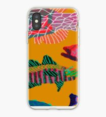Colorful Abstract Fish Art Drawstring Bag in Yellow and Black  iPhone Case