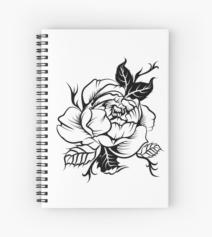 Cuadernos De Espiral Peonía Tatuaje Blanco Y Negro De Ativka