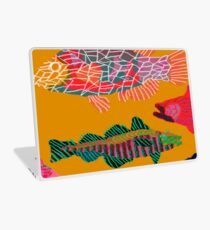 Colorful Abstract Fish Art Drawstring Bag in Yellow and Black  Laptop Skin