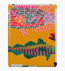 Colorful Abstract Fish Art Drawstring Bag in Yellow and Black  iPad Case/Skin