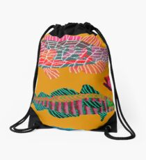 Colorful Abstract Fish Art Drawstring Bag in Yellow and Black  Drawstring Bag