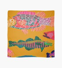 Colorful Abstract Fish Art Drawstring Bag in Yellow and Black  Scarf