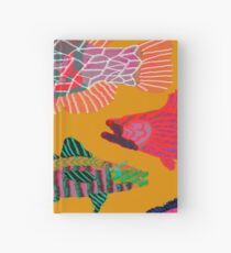 Colorful Abstract Fish Art Drawstring Bag in Yellow and Black  Hardcover Journal