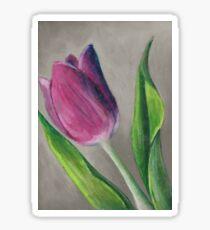 Spring blooming tulip flower original oil pastel painting Sticker