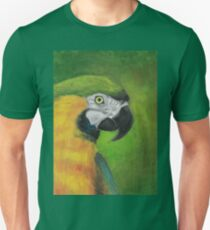 green and gold parrot macaw original oil pastel painting T-Shirt
