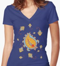 Seamless pattern with paisley and flowers Women's Fitted V-Neck T-Shirt