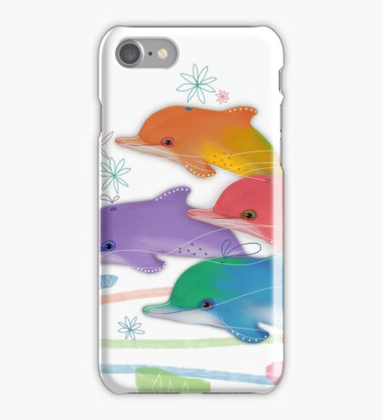 A Rainbow of Dolphins iPhone Case/Skin