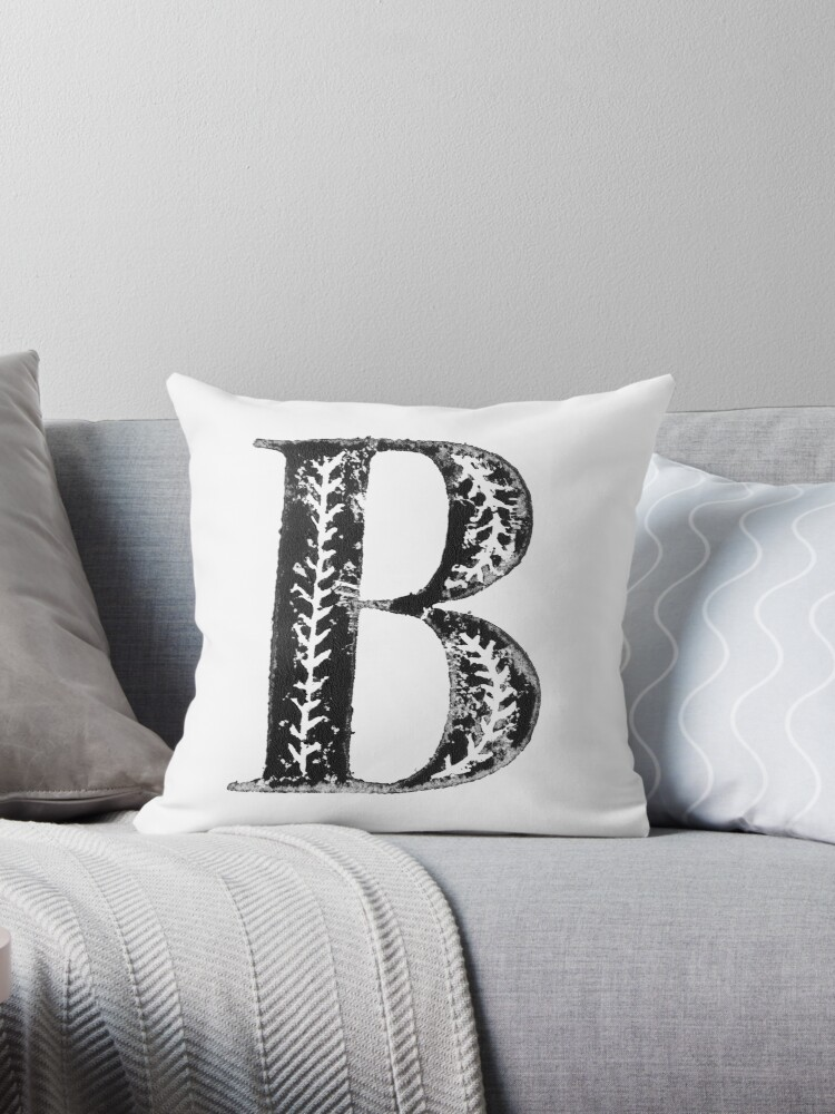 'Serif Stamp Type - Letter B' Throw Pillow by Nicolette Seeback