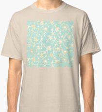 Exotic golden Baroque damask pattern, robin's egg blue Classic T-Shirt