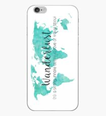Wanderlust (n) Teal Watercolor World Map iPhone Case
