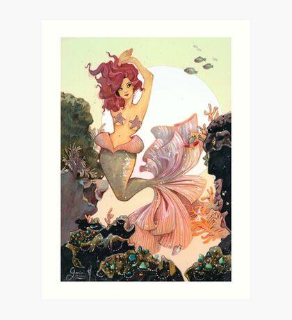 Cherry Mermaid Art Print