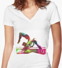 Couple yoga watercolour art Women's Fitted V-Neck T-Shirt