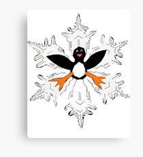 Penguin snow flake Canvas Print