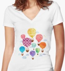 Hot Air Balloon Women's Fitted V-Neck T-Shirt