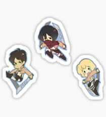 SnK Eren, Mikasa, Armin Sticker