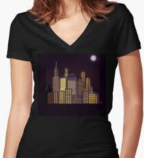 ABSTRACT CITYSCAPE: CHOCOLATE HAZE Women's Fitted V-Neck T-Shirt