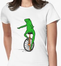 Dat Boi Unicycle Frog T-Shirt Womens Fitted T-Shirt