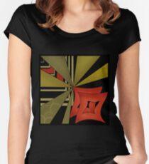Beautiful modern geometrical ornamental red green black pattern texture Women's Fitted Scoop T-Shirt