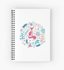 Fox with winter flowers and snowflakes Spiral Notebook