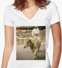 Cattle Drive 2 Women's Fitted V-Neck T-Shirt