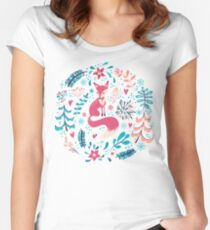 Fox with winter flowers and snowflakes Women's Fitted Scoop T-Shirt