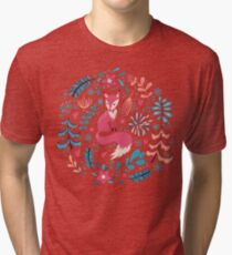 Fox with winter flowers and snowflakes Tri-blend T-Shirt
