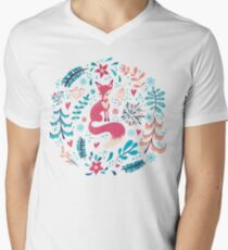 Fox with winter flowers and snowflakes T-Shirt