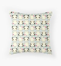 Bunnies and Pandas Throw Pillow