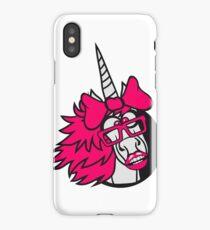 crazy student funny nerd geek hornbrille unicorn smart girl female mare pink girl bow comic cartoon unicorn iPhone Case/Skin