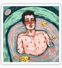 late night bathtub thinking Sticker
