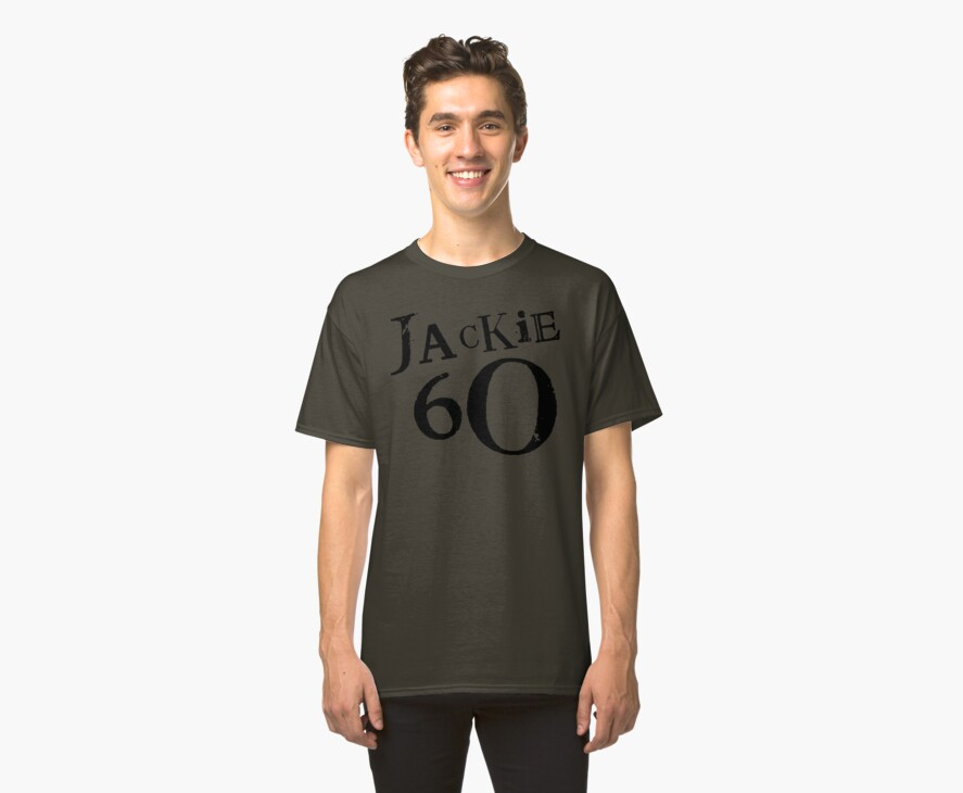 Jackie 60 Classic Logo on Brown T by jackiefactory