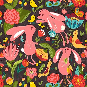 Flowers and bunnies seamless pattern by Lidiebug