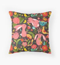 Flowers and bunnies seamless pattern Throw Pillow