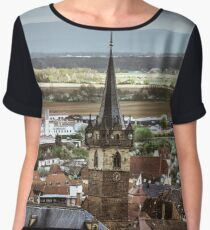 Old part of Obernai overview in stormy weather, France Women's Chiffon Top