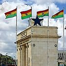 Ghana Flag and Black Star Gate of Independence by Remo Kurka
